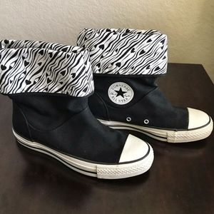 Converse Zebra Hearts Fold Over Sneakers Booties